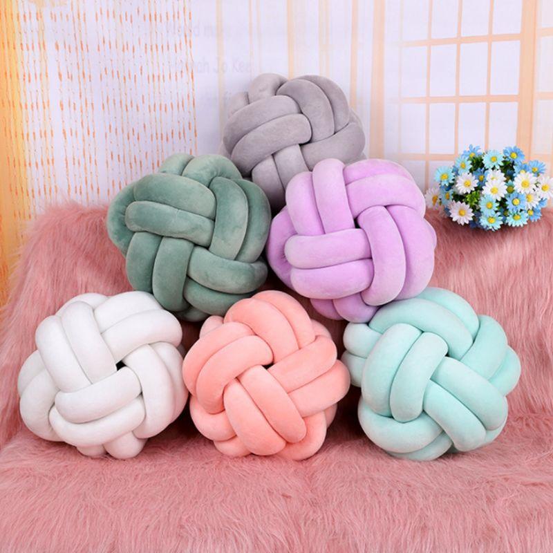 1 Pc Cotton Soft Knot Ball Cushions Bed Stuffed Pillow Home Decor Cushion Ball Plush Throw 20cm 27cm