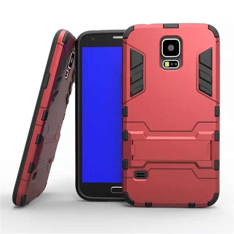 Przypadki Coque dla Samsung Galaxy S5 i9600 smartfon etui na telefony Fundas luksusowe zbroja PC twardy pokrywa ochronna powłoki stojak uchwyt