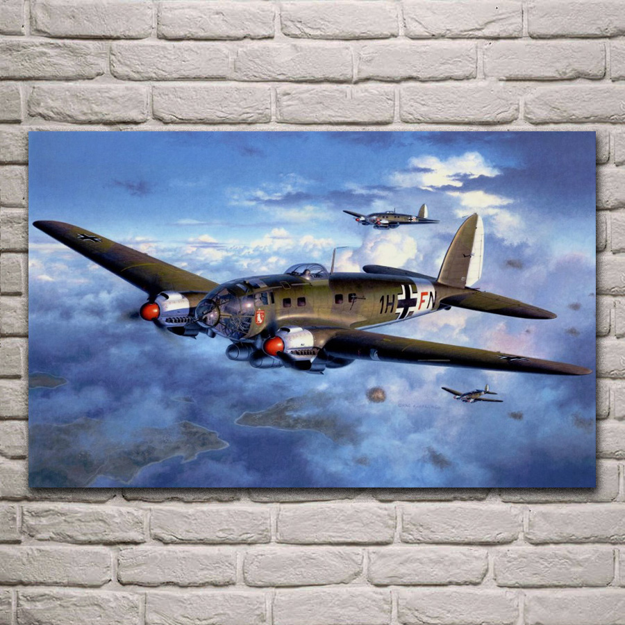 German WW2 revell heinkel he 111 h-6 Airplanes living room home wall art decor wood frame fabric posters EX574 image