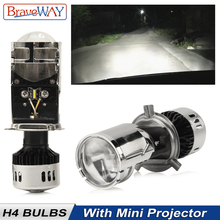 BraveWay H4 Led Headlight Bulbs With Mini Projector Lens for Car Motorcyble LED H4 Kit Hi/Lo Beam Lamp 12V 55W 5500K 11000LM цена