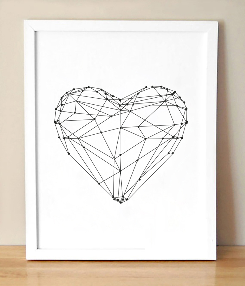 Black And White Contemporary Wall Decor : No frame heart shape simple canvas wall art modern
