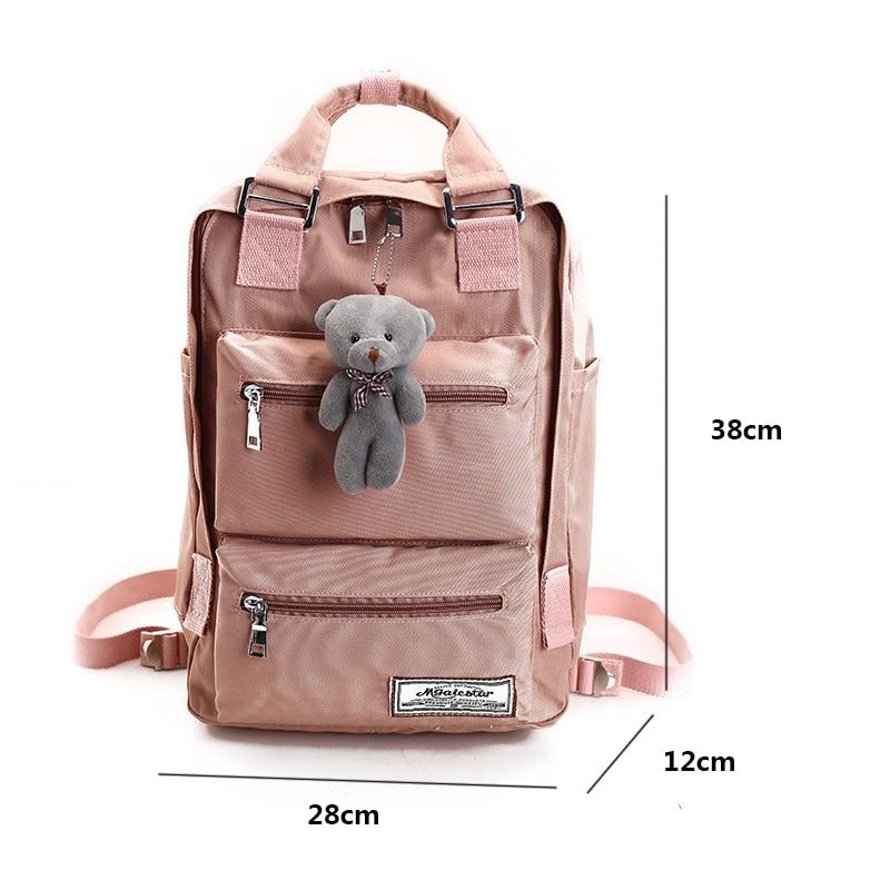 Casual Waterproof Nylon Backpack Women Solid Color Large Capacity Schoolbags Teen Girl Harajuku Multi-pocke Travel Backpack 2019
