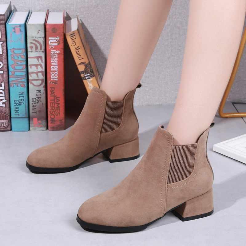 Классические женские ботинки; сезон весна-лето; Черные ботильоны «Челси»; женская обувь; женские слипоны на блочном каблуке; Bota Feminina; Высокий каблук 4 см