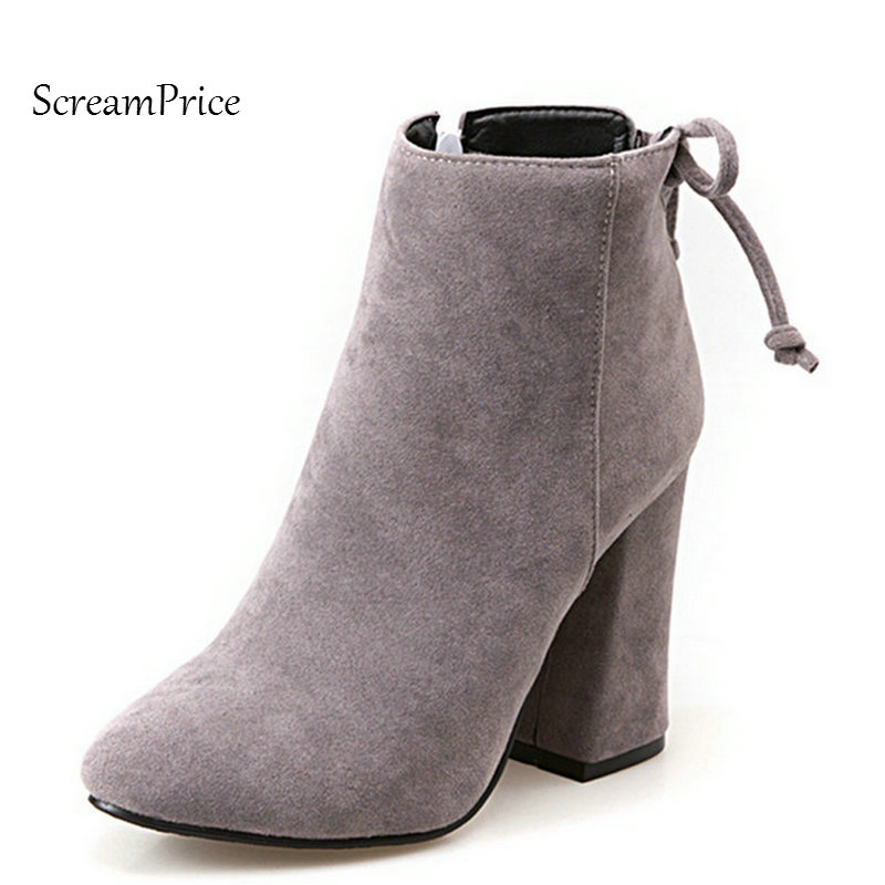 Woman Faux Suede Thick High Heel Bow Knot Ankle Boots Fashion Pointed Toe Side Zipper Dress Winter Boots Black Gray autumn winter cool fashion black leather and suede spike heel short boots charming woman pointed toe ankle boots concise design