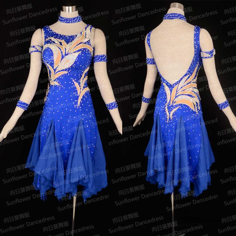 Новое поступление, платье для латинских танцев Румба Jive Chacha, бальное платье, танцевальная одежда, латинское платье, Танго Сальса Самба Девушки Женщины Синий