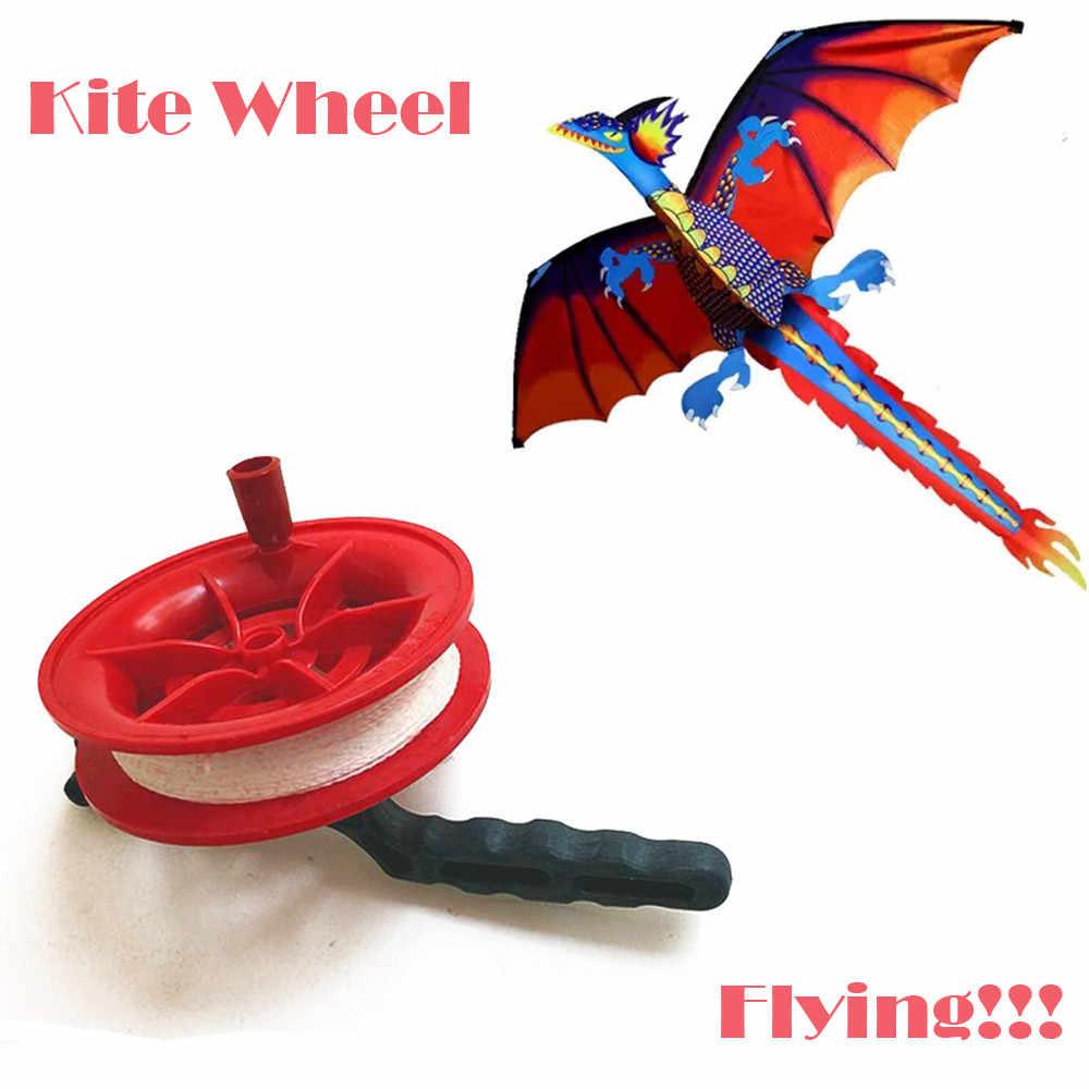 凧ホイールライン長さ 100 メートル/50 100m ツイスト文字列ライン赤ホイール凧リールワインダー飛行のおもちゃ子供凧アクセサリー