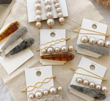 2019 New Fashion Marble hair clips combination Romantic temperament pearls bangs adult hairpin Hair Accessorie