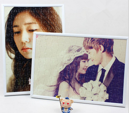 12'' personalized jigsaw 120pcs puzzle,one piece photo with frame,customized gift to friend kid baby lover wedding party favor