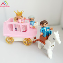 sermoido Friends For Girl Building Blocks Princess Cinderellas Carriage Pumpkin Sets Toy Compatible With Duploe DBP251