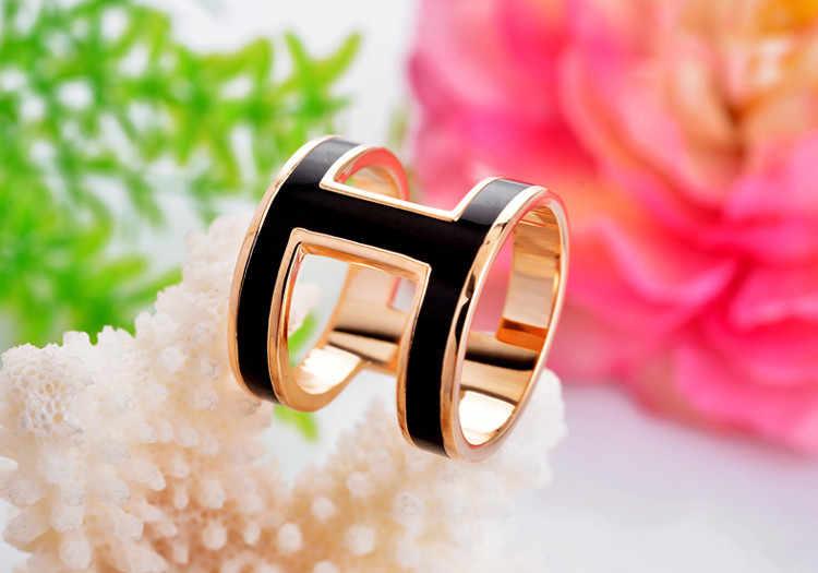 BS041 Fashion Wanita Top Kualitas Kuningan Huruf H Berwarna Enamel Bros/Selendang Syal/Syal Gesper Cincin Klip