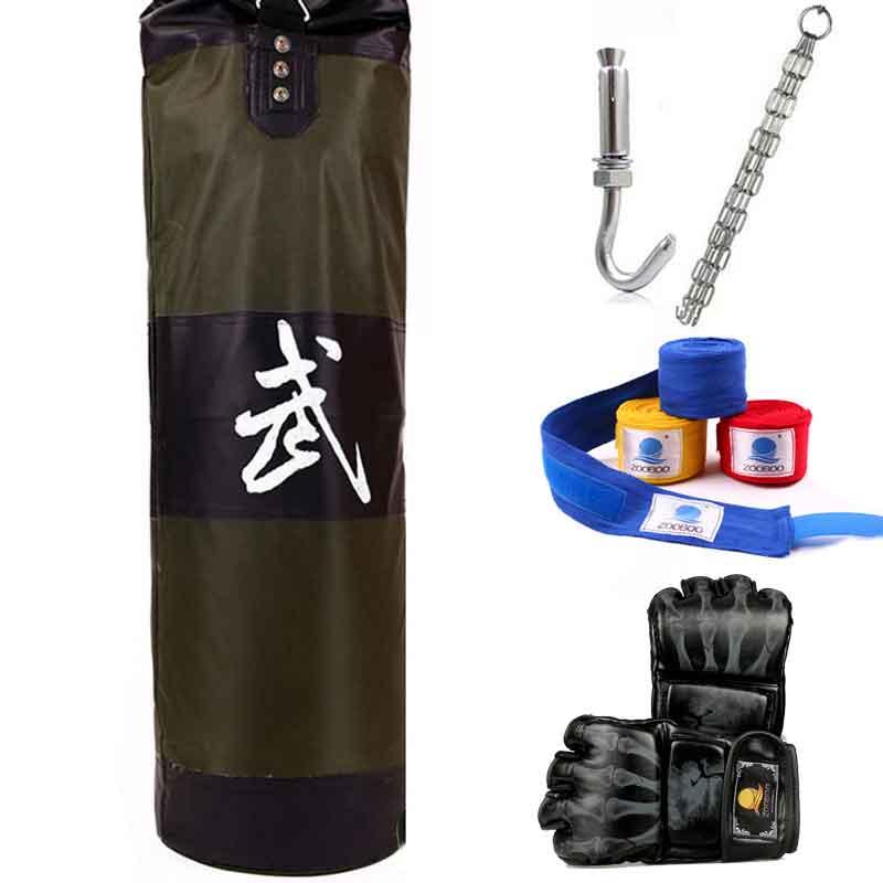 ФОТО 90cm New Training MMA Boxing Bag Hook Hanging Kick Muay Thai Sanda Punching Bag Sandbag Punch Fight Bag (Empty) with hooks