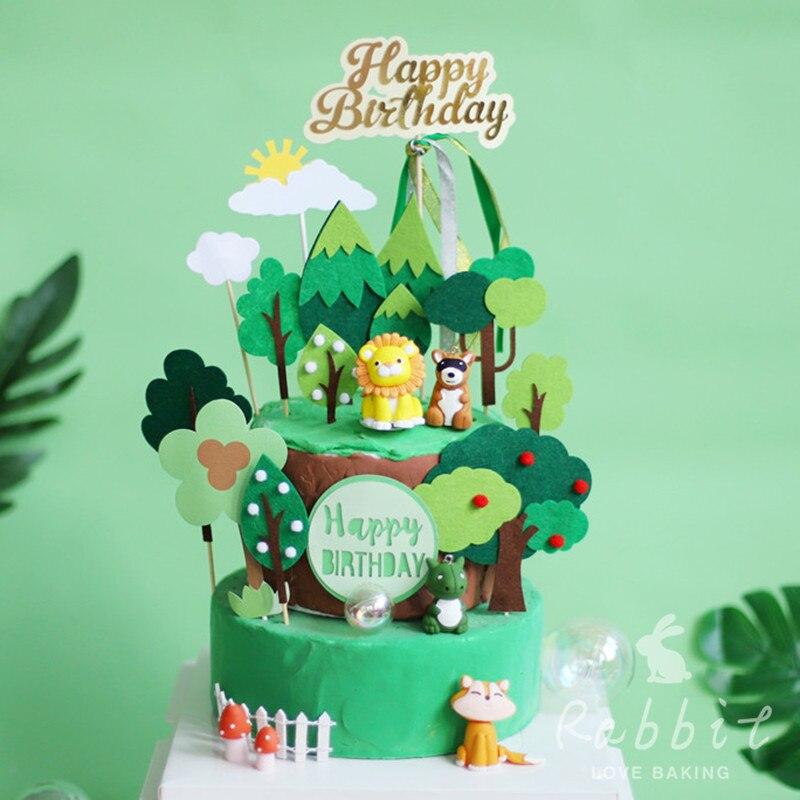 Amazing Pine Felt Fruit Trees Cake Topper Happy Birthday Fox Dinosaur Funny Birthday Cards Online Overcheapnameinfo