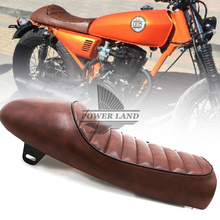 1 pc marron + noir rétro Vintage selle moto bosse Racer siège universel s'adapte pour Honda Yamaha Suzuki Kawasaki Harley personnalisé
