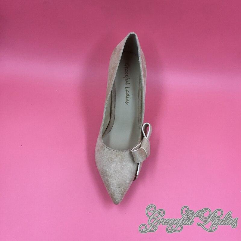 Cuir Jaune Talon Pompes Photo Réel Ol Style Dames Suédé Picture Femmes Bowknot Printemps Bout Slip sur Pompe Chaussures Côté Pointu Bas drwxrn1F