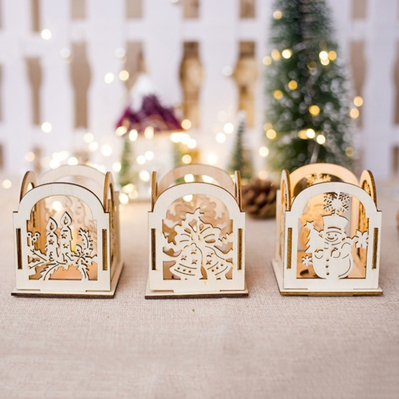 100% Quality Christmas Wooden Hollow Carved Candlestick Mosaic Candlestick Ornaments Snowman Home Garden Ornaments Home Decor