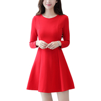 Vintage elegante oficina vestidos rojo negro vestido de las mujeres de manga larga sexy vestido de tallas grandes otoño invierno de navidad vestido de fiesta