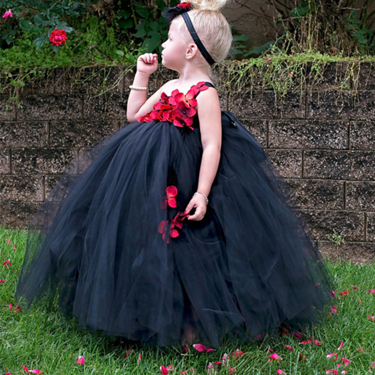 Ankle Length Girls Black Dress Red Flower One Shoulder Summer Girl Lace Dress Long Tulle Teen Girl Party Dress Baby Girl Clothes (8)