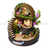 DIY Assembled Resin Anime Cottages Music Box My Neighbor Totoro Birthday Gift Fantasy Forest Candy Cat Figurine 10 Piece