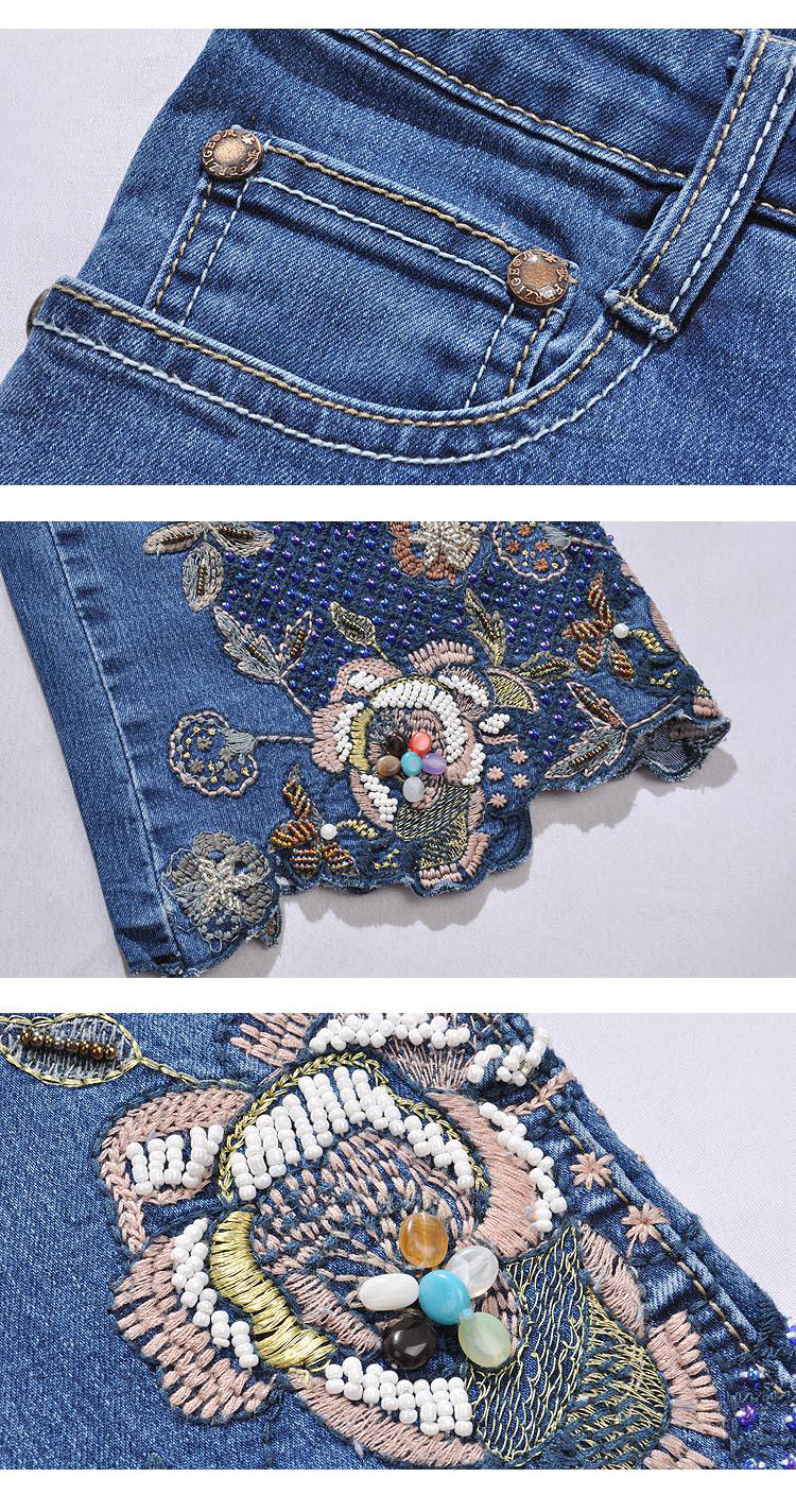 KSTUN Jeans Women High Waist Blue Manual Embroidered Flares Pants Hand Beads Bell Bottom Stretch