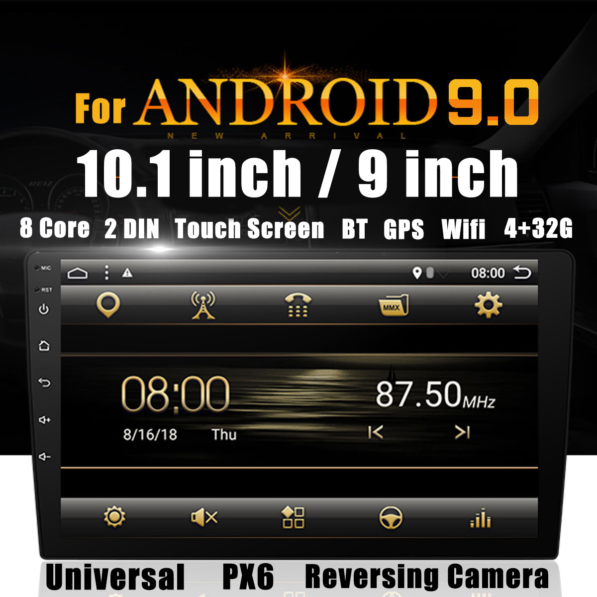 9 Android 9 0 PX6 8 core 2Din Car Multimedia Player GPS Radio Video 4 32G