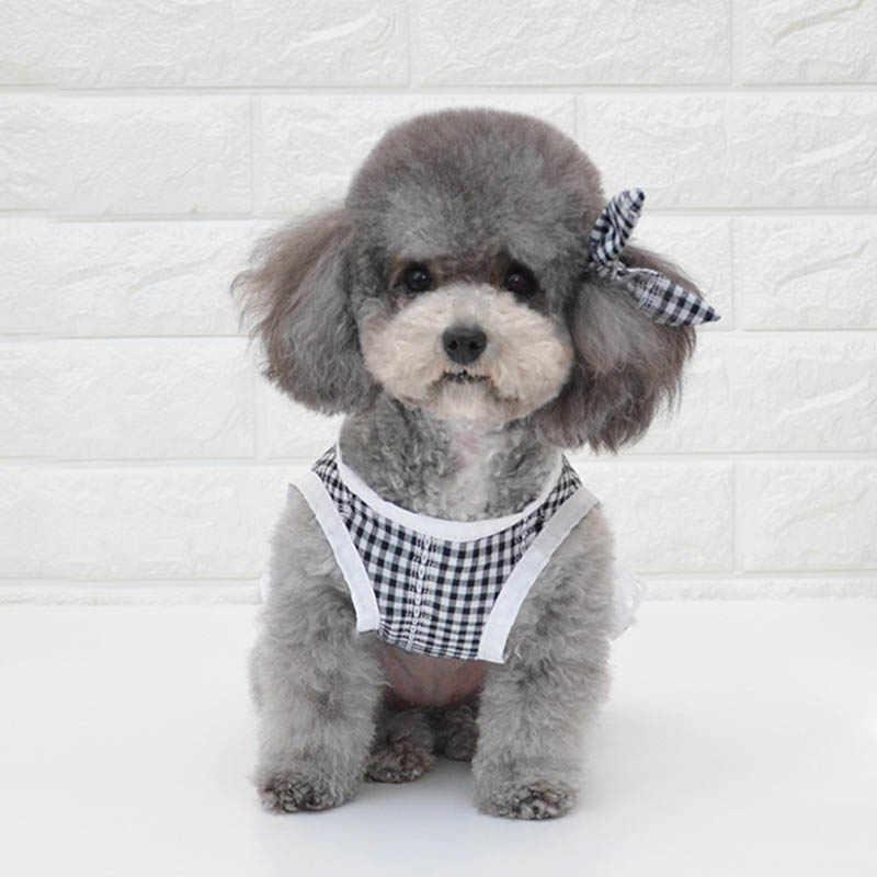 Плед платье в стиле принцессы для собаки кошки собаки платья для малых и средних собаки чихуахуа галстук-бабочка летние щенки Костюмы Yorkshrie детское платье