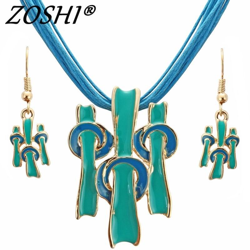 Jewelry-Sets Necklaces Pendants Geometric Fashion Women for Blue-Color Multilayer-Statement