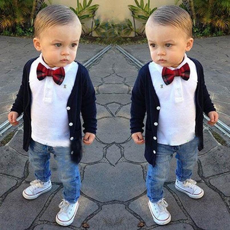 2018 1Set Kids Baby Boys Long Sleeve T-Shirt Tops+Coat+Pants Clothes Outfits Comfortable And Breathable 5.23