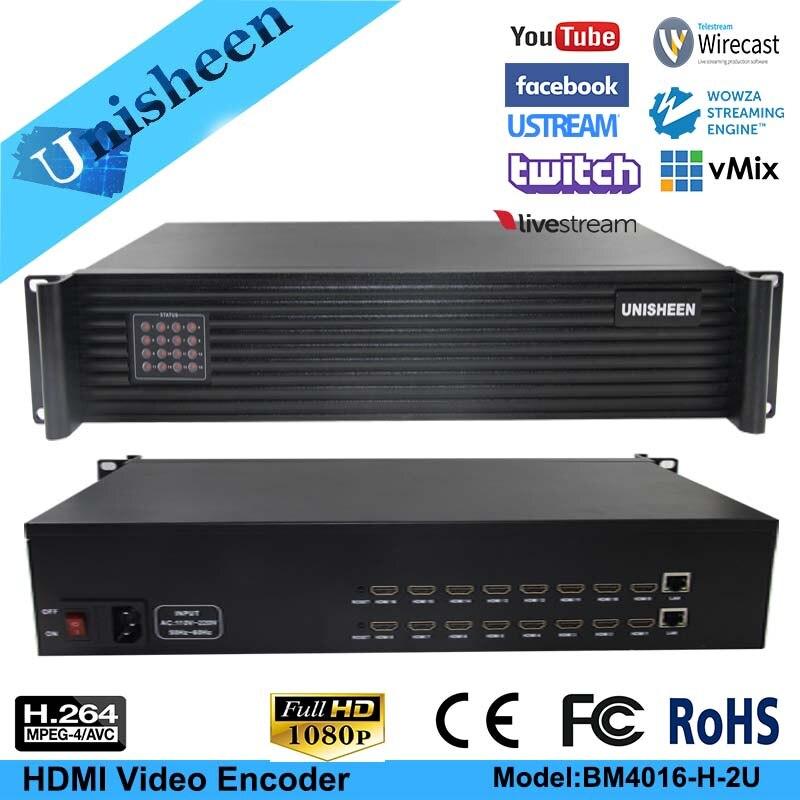 Unisheen MPEG-4 AVC/H.264 16 Channel HDMI Video Encoder HDMI Transmitter Live Broadcast Encoder H264 Encoder