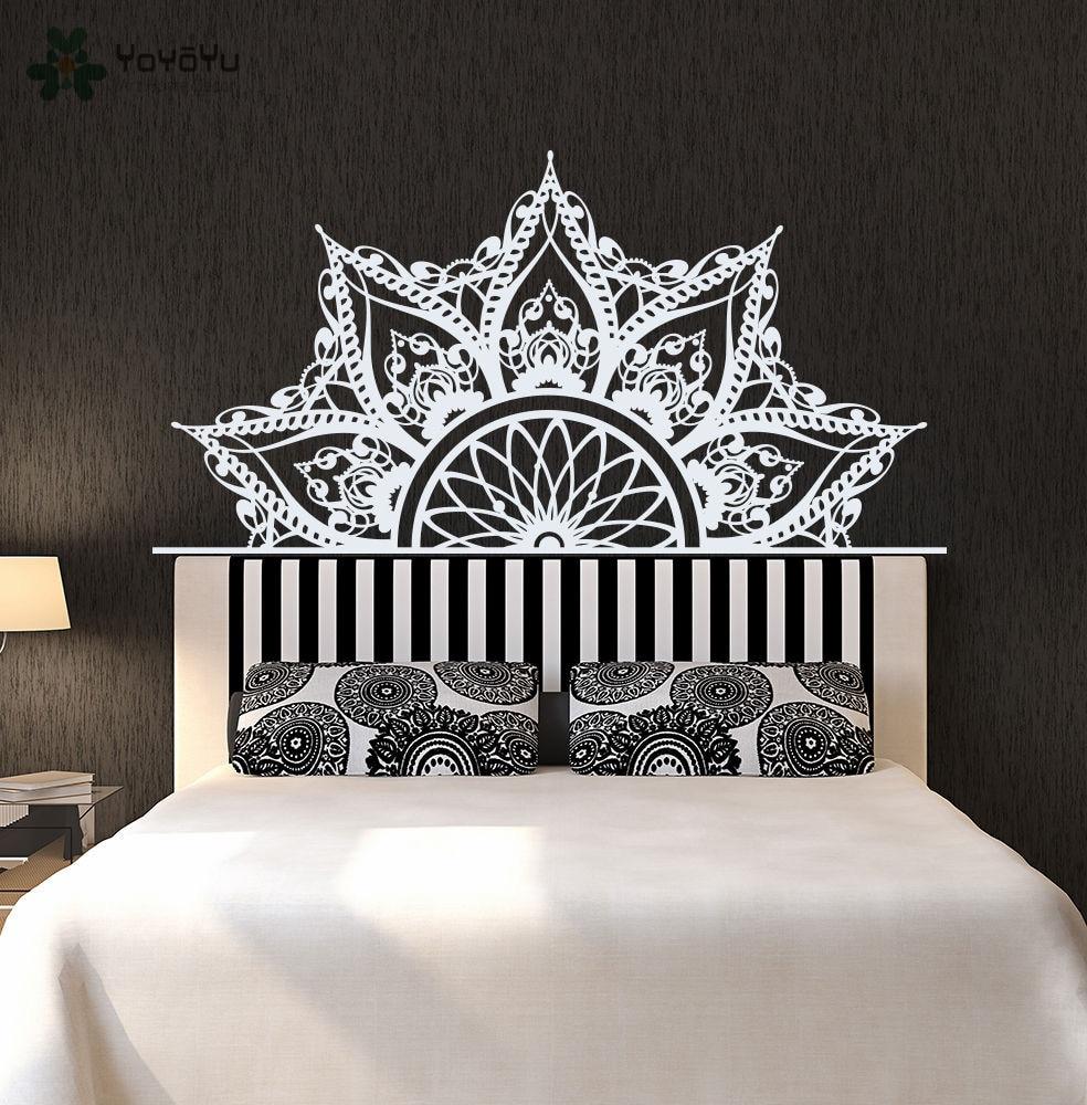 Bohème Mandala Fleur Lit Décoration Accessoires Sticker PVC Chambre Vinyle Lotus Adhésif Belle DIY Wall Sticker SYY276