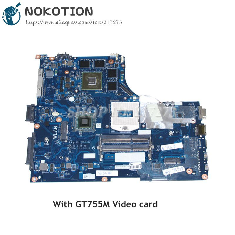 NOKOTION Laptop Motherboard For Lenovo ideapad Y510P 15.6 MAIN BOARD VIQY1 NM-A032 REV 1.0 GT755M 2GB Video card
