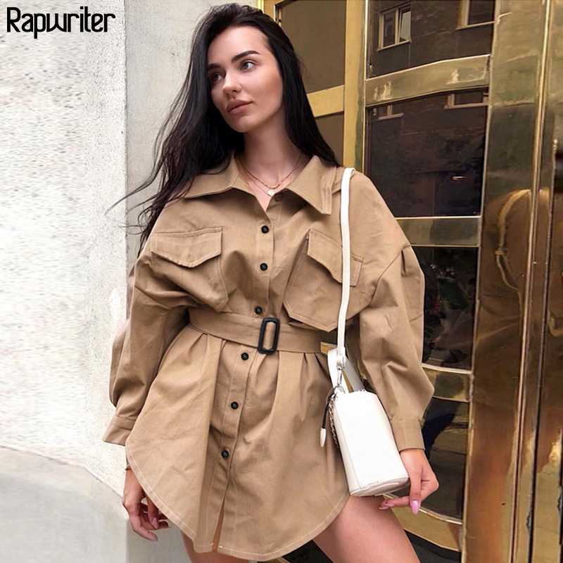 Rapwriter Casual Women Turtleneck Long Blouses 2018 Autumn Single Buttons Ladies Elegant Lace-up Fitted Waist Retro Tops Shirt