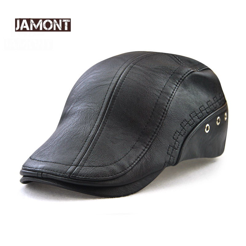 JAMONT wholesale 2018 new mens hat winter sun  PU leather beret fashion Gorras warm Casquette cap