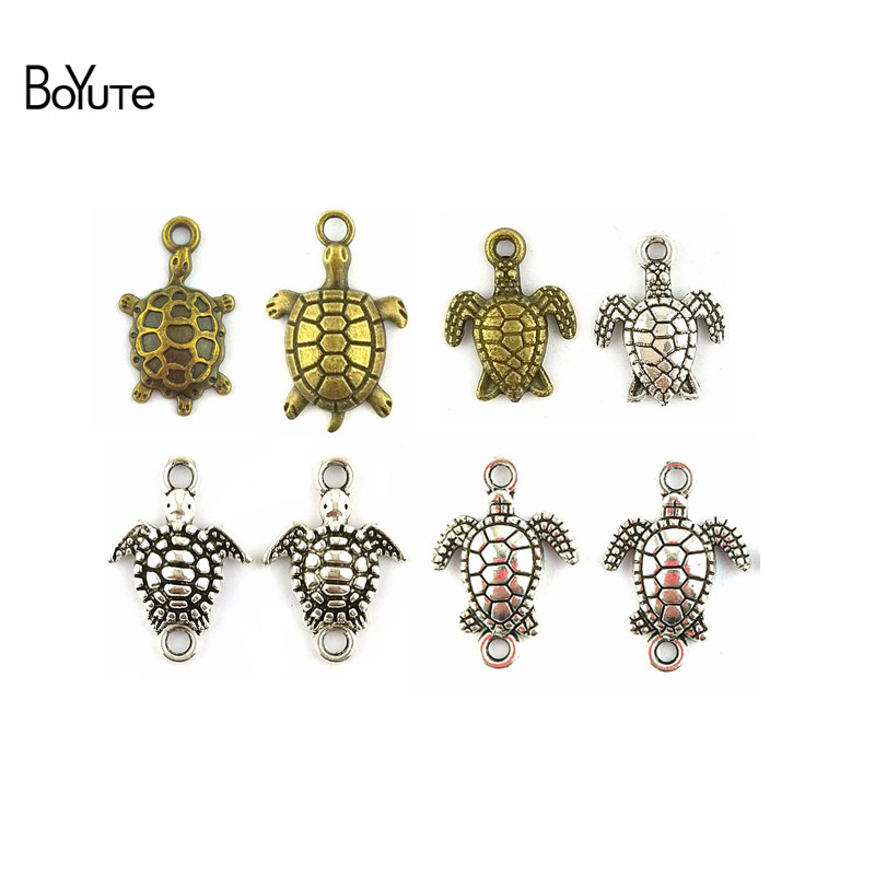 BoYuTe (50 Pieces/Lot) Antique Silver Bronze Metal Sea Turtle Connector Charms For Jewelry Making Diy(China)