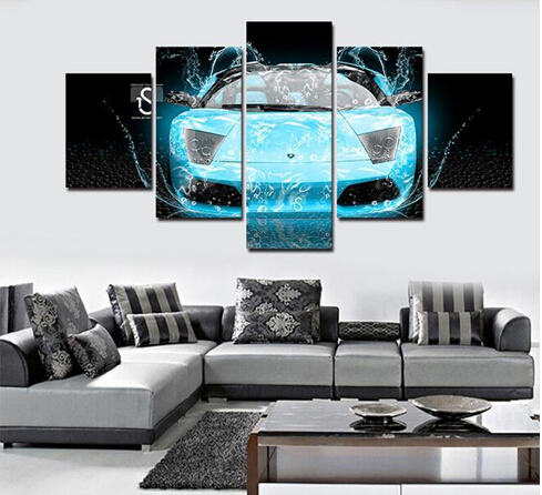 2017 Real Rectangle Cuadros Painting By Numbers Hot Sell Car 5 Panels Modern Canvas Art Painting Pictures Print For Living Room