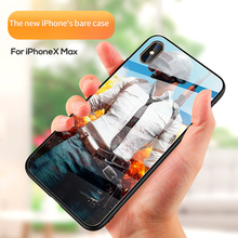Phone Case Luxury Glass Back Cover PUBG Game Pattern Tempered Hard For iphone 7 8 10 6 s X Xs Max 7plus