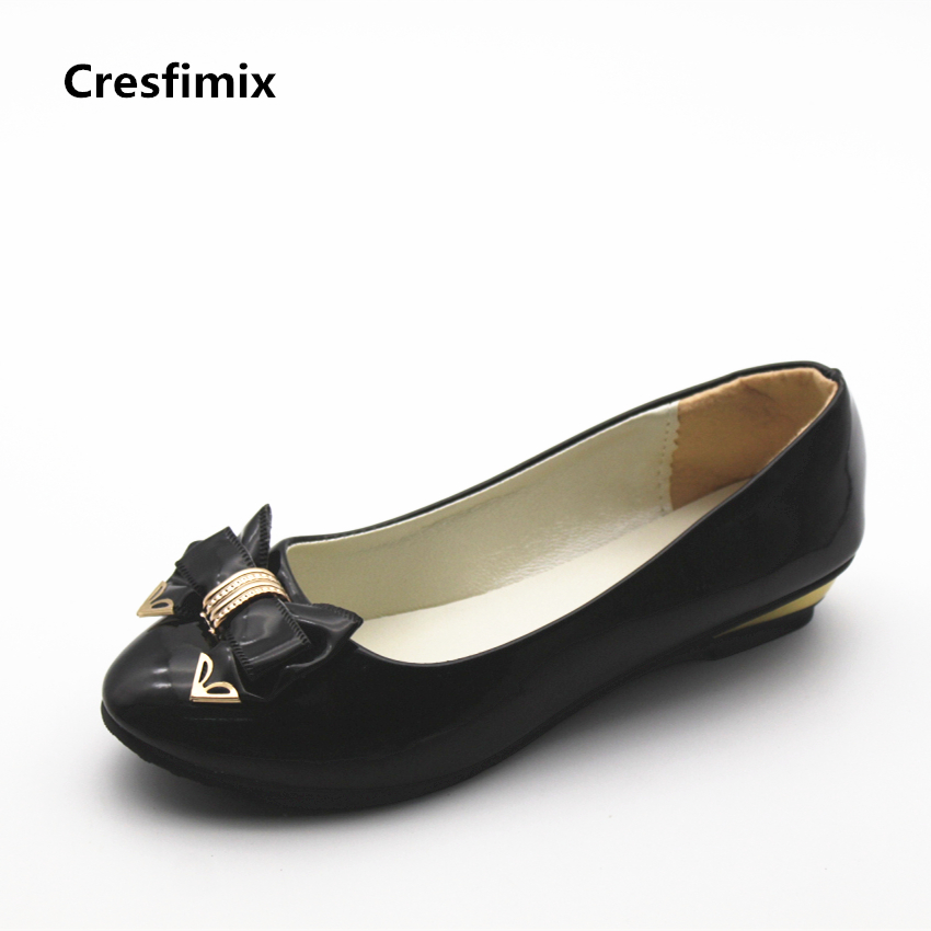 Cresfimix women cute spring and summer slip on flats sapatos femininas female black soft pu leather comfortable flat shoes cresfimix zapatos de mujer women fashion pu leather slip on flat shoes female soft and comfortable black loafers lady shoes