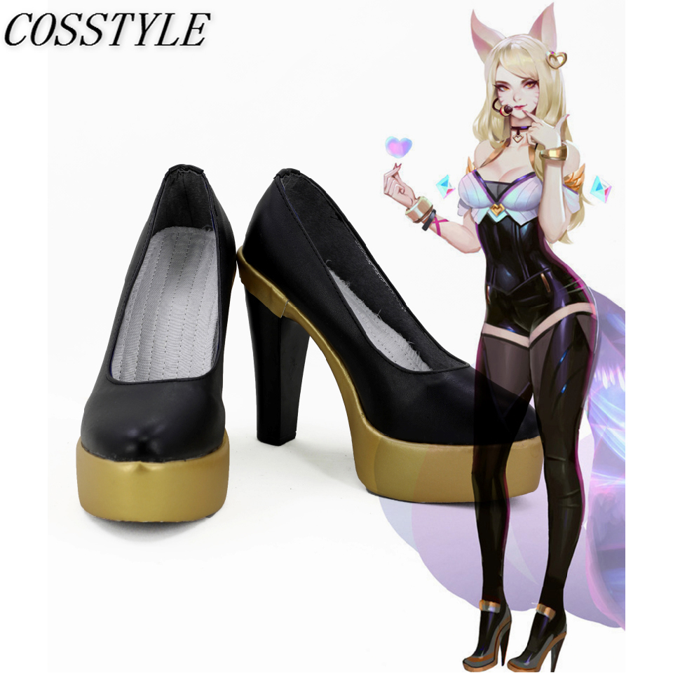 KDA Ahri Cosplay Shoes LOL K/DA Cosplay High-Heeled Shoes for Women Game LOL AHRI Black Gloden 9CM High-Heeled Shoes Custom Made
