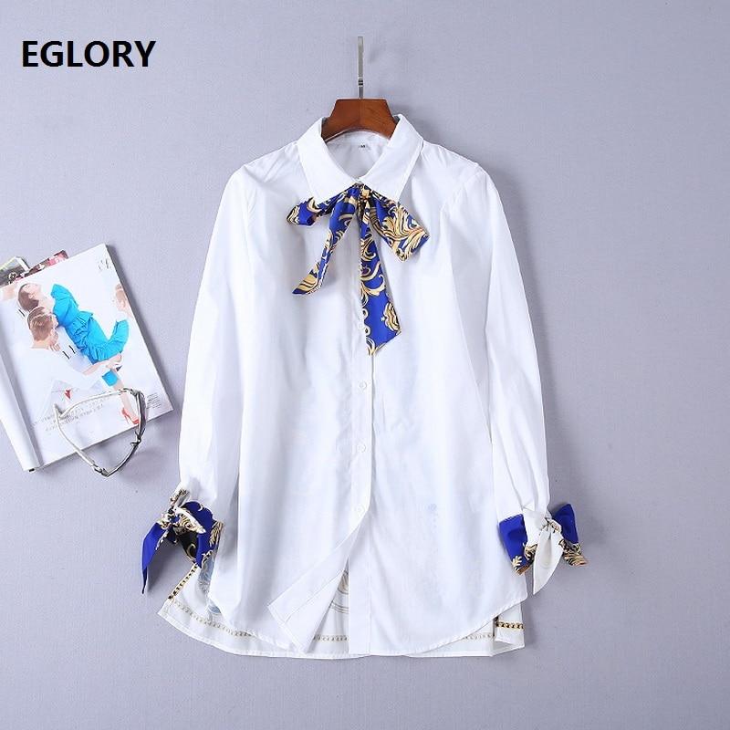 High Quality New Blouse Shirts 2018 Autumn Fashion Women Bow Tie Elegant Tunic Print Patchwork Long Sleeve Casual Cotton Shirt
