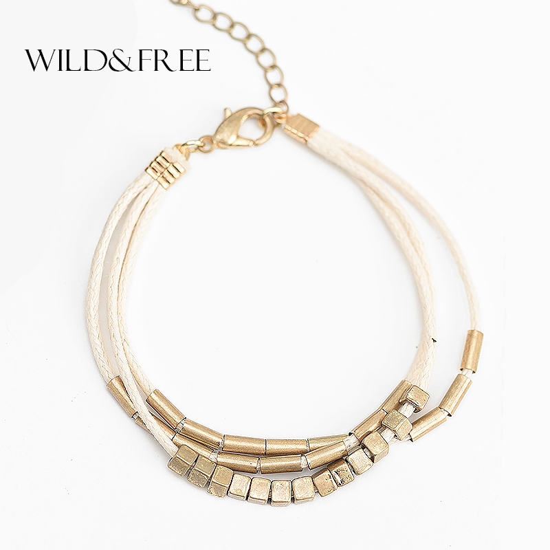 Wild & Free Women 3 layered Beige Rope Bracelets Vintage Gold Color Alloy Square Beads Pendant Bohemian Charm Bracelets Jewelry