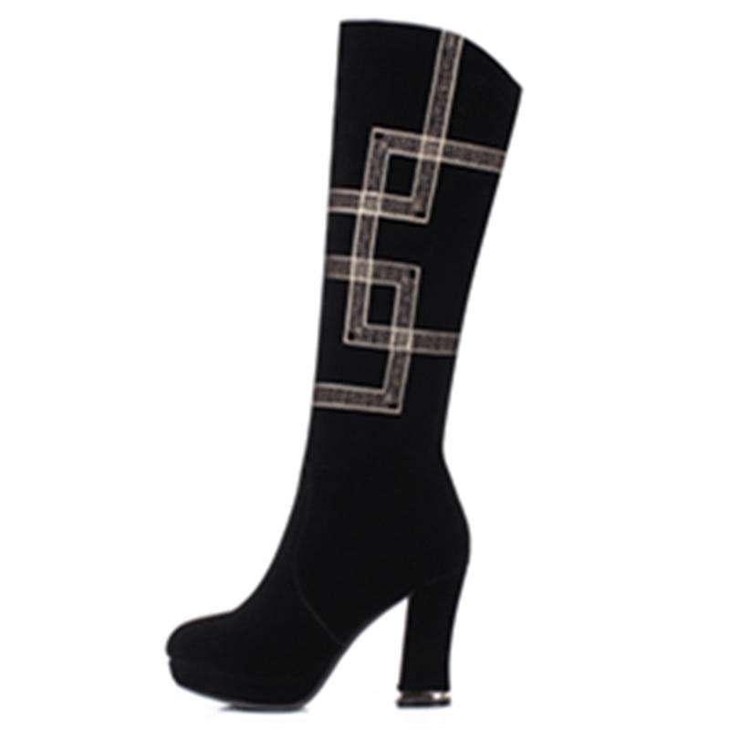 Chaussures Femmes Talons Genou Bout Dames Bottes Smeeroon Rond Hiver Pour Arrivée Automne Super Haute Zip Plate Noir forme v08mnwNO