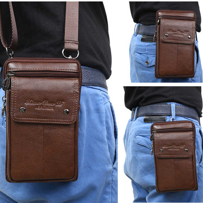 New Men Small Shoulder Fanny Messenger Bags Purse Hook Vertical Casual Fashion Cross Body Genuine Leather Waist Belt Pack Bag