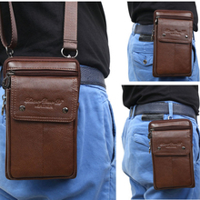 New Men Small Shoulder Fanny Messenger Bags Purse Hook Vertical Casual Fashion Cross Body Genuine Leather Waist Belt Pack Bag