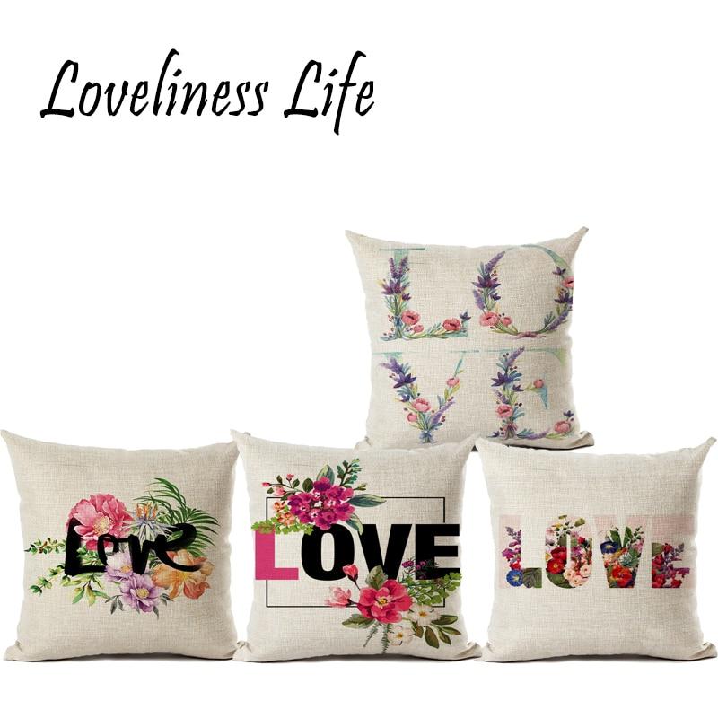 Estilo Europeo Carta de AMOR Con Flor de Lino Throw Pillow Cojín - Textiles para el hogar