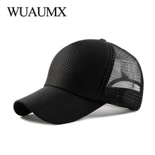 Wuaumx Fashion Summer Mesh Cap Black Baseball For Men Women Solid Breathable Net Hats And Caps Pink Snapback casquette