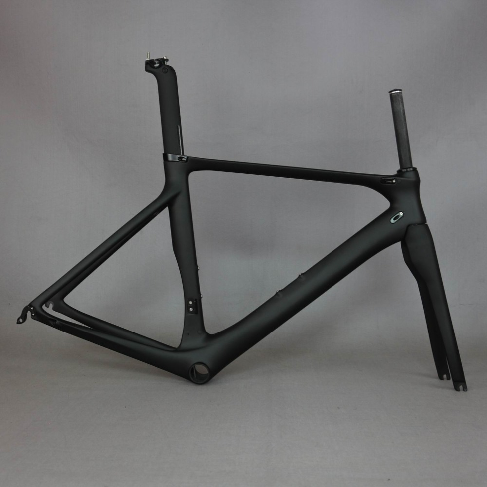 carbon road bike frame carbon fibre road cycling bicycle frameset oem brand frame clearance frame fork seatpost carbon frame 53cm 55cm 58cm fixed gear bike frame matte black bike frame fixie bicycle frame aluminum alloy frame with carbon fork
