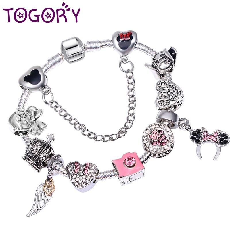 fd2070cff TOGORY Animal Mickey Charm Bracelets & Bangle For Women Fashion Original DIY  Minnie Fine Bracelets Girls Kids Jewelry Gift