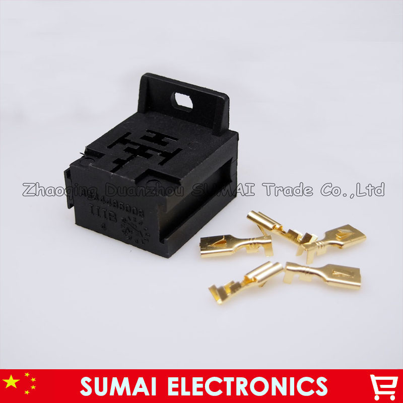5 Pin 6.3mm Car circuit socket,5Pin Auto relay socket holder plug connector 2015 new arrival 12v 12volt 40a auto automotive relay socket 40 amp relay