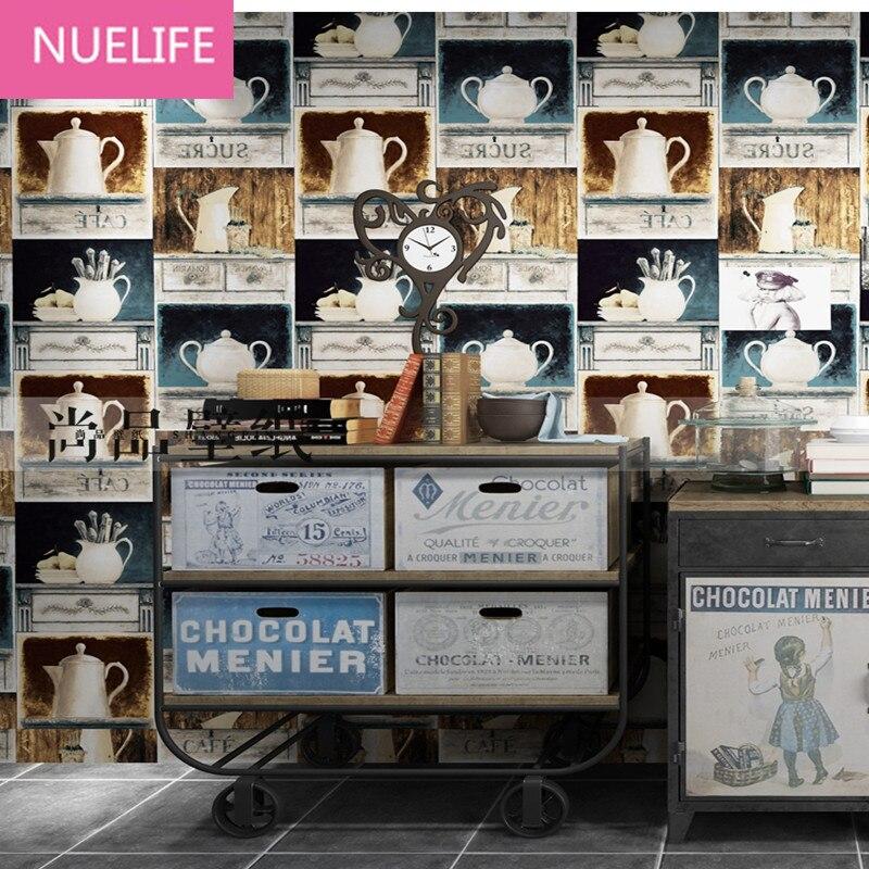 0.53x10 m rétro nostalgique personnalité théière étagère motif papier peint salon chambre canapé café Bar TV fond papier peint N2