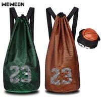 Portable Gym Bag Sport Drawstring Backapck Waterproof Basketball Bags for Shoes Storage Athlete Football Training Ball Tote