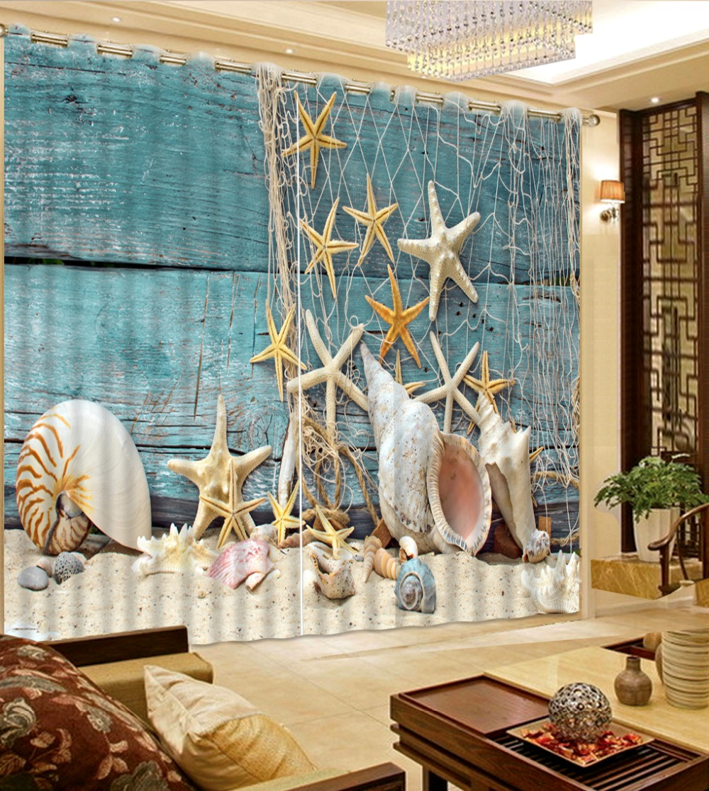 Lovely Photo Shellfish Star Sand Net Curtains For Living Room Cool Fashion  Blackout Curtains Polyester Bedroom Curtain